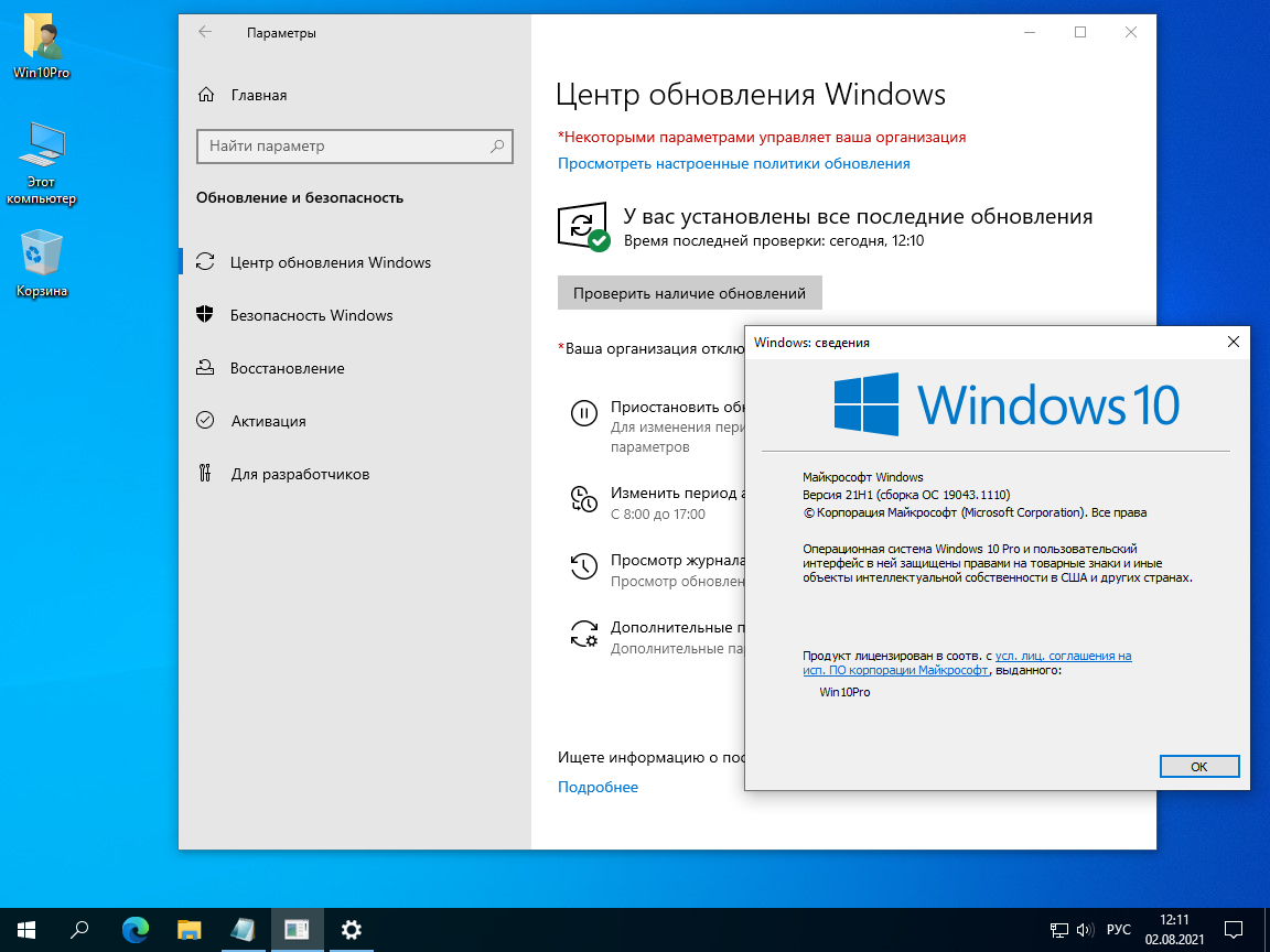 Windows 10 Pro 21H1 19043.1110 x64 ru by SanLex (2021.08.02)